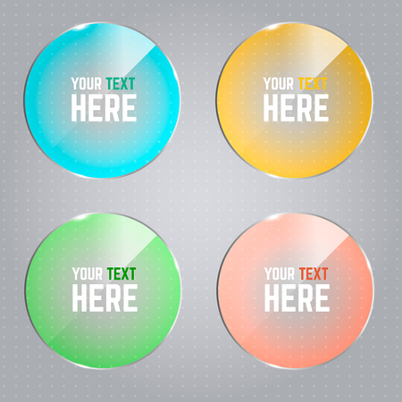 Set of round infographic elements with colored glossy effect.