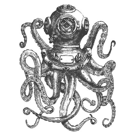 Vintage style diver helmet with octopus tentacles isolated on white background. Design element for poster, t-shirt print. Vector illustration. 向量圖像