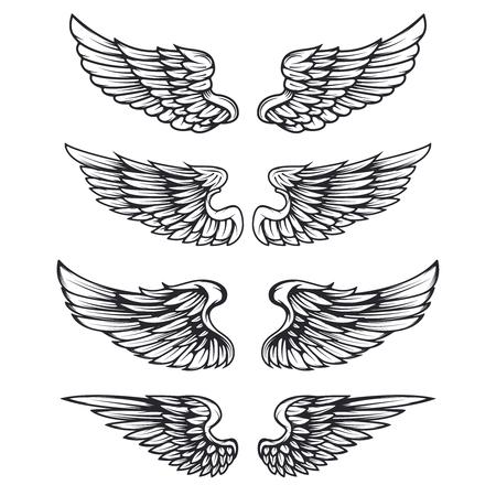 Set of vintage vector wings isolated on white background. Design elements for logo, label, emblem, sign, brand mark. Vector illustration.