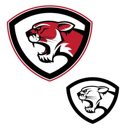 Shield emblem template with head. Design elements, label, emblem, sign, brand mark. Vector illustration.