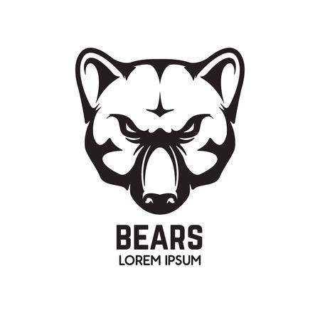 Bear head isolated on white background. Sport team mascot. Design element for logo, label, emblem, sign, brand mark. Vector illustration. Ilustrace