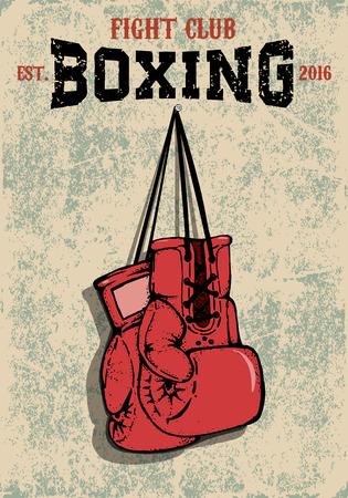 Boxeo emblema del club. Dos guantes de boxeo en el estilo grunge. Elemento de diseño vectorial. Ilustración de vector