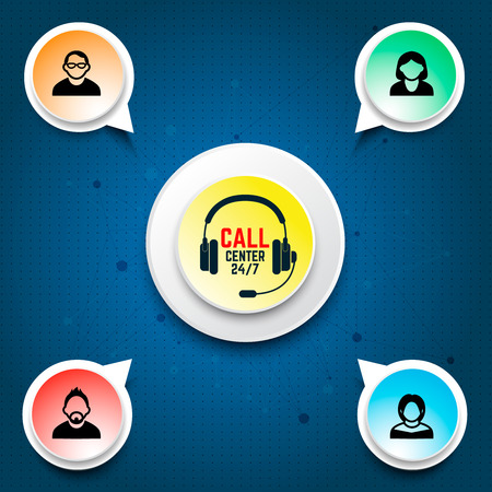 Call center user support. Design elements for infographic, motion design, websites decoration. Vector illustration.