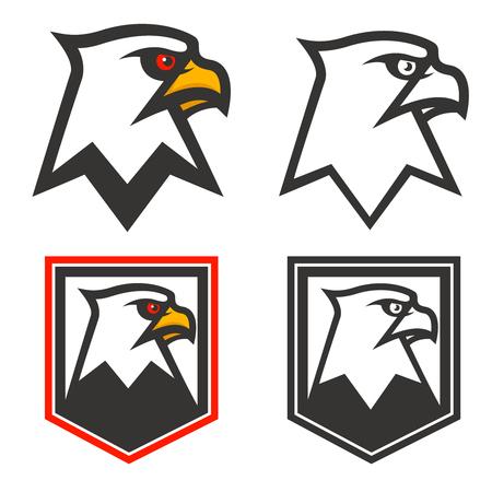 Eagle head on background from shield. Design element for logo, label, emblem, sign, brand mark. Sport team mascot. Vector illustration. Ilustrace