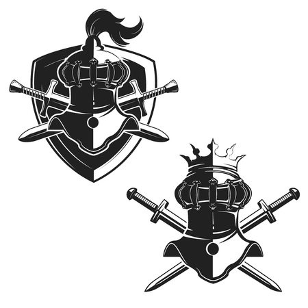 Set of the emblems templates with swords and knights helmets. Design elements for logo, label, emblem, sign, brand mark. Vector illustration.