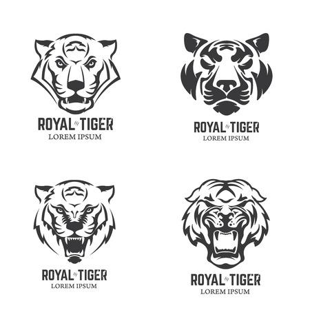Set of the tiger heads. Sport team mascot. Design element, label, emblem, sign, brand mark. Vector illustration. Ilustrace