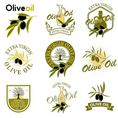 Extra virgin olive oil labels. Design element for label, emblem, brand mark, sign. Vector illustration. Ilustrace