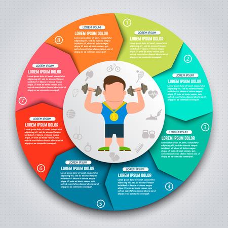 Colorful sport infographic elements. Sportsmen with kettlebells. Design elements for websites, banners, motion graphic. Vector illustration. Ilustrace