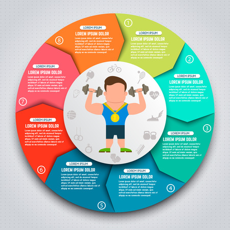 Colorful sport infographic elements. Sportsmen with kettlebells. Design elements for websites, banners, motion graphic. Vector illustration. Illustration