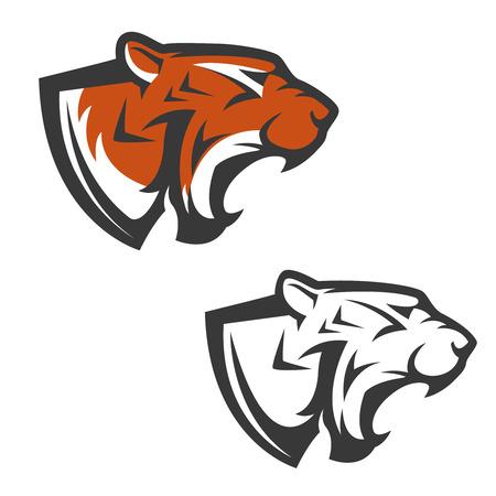 Set of the tiger heads. Sport team mascot. Design element , label, emblem, sign, brand mark. Vector illustration.