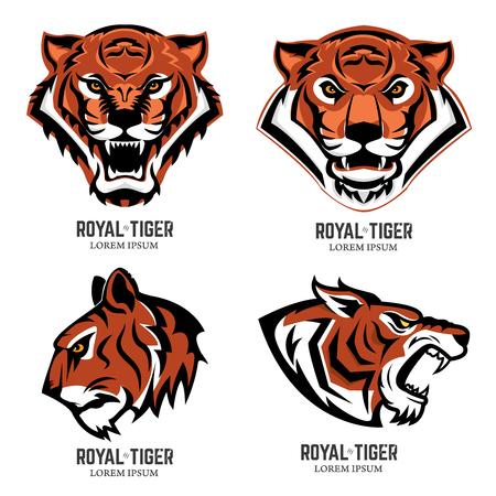 Set of the tiger heads. Sport team mascot. Design element for logo, label, emblem, sign, brand mark. Vector illustration.