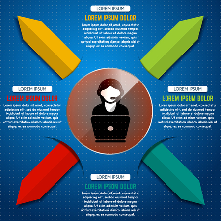 User support infographic design template with colorful arrows and shadow effect. Design elements for website banner, presentation, flyer, poster, motion design. Vector illustration. Ilustrace