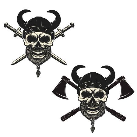Set of skulls in viking helmets with crossed swords and axes. Design elements for poster, emblem, sign, t-shirt print. Vector illustration. Ilustrace