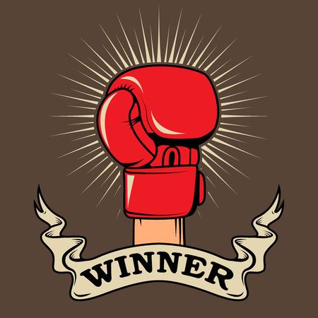 Winner. Human hand in boxing glove. Design element for poster, t-shirt print. Vector illustration. Ilustrace