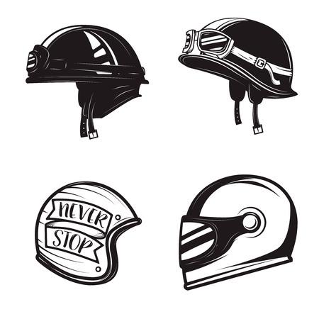 Set of different biker helmets isolated on white background. Design elements for logo, label, emblem, sign, poster, t-shirt. Vector illustration.