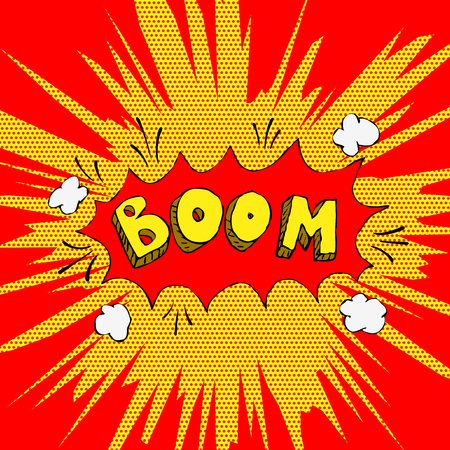 biff: Boom! Comic style phrase on background with explosion. Design element for poster, t-shirt. Vector illustration. Illustration