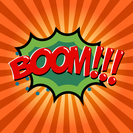 Boom! Comic style phrase on background with explosion. Design element for poster, t-shirt. Vector illustration. Illustration