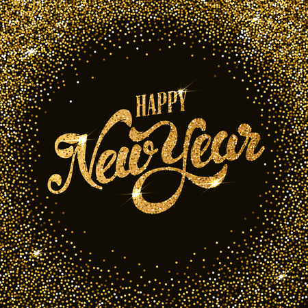 Happy New Year gold glitter lettering with frame from golden dots. Design element for greeting card, calendar, poster. Vector illustration. Ilustrace