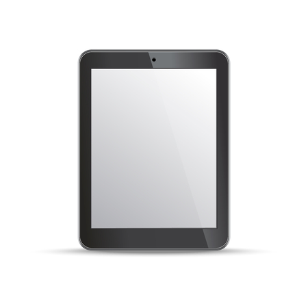 Empty screen tablet template on white background. Design elements for infographic, websites, motion design. Vector illustration.