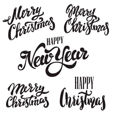 Set of Merry Christmas lettering isolated on white background. Happy New Year.  Design elements for poster, greeting card. Vector illustration.