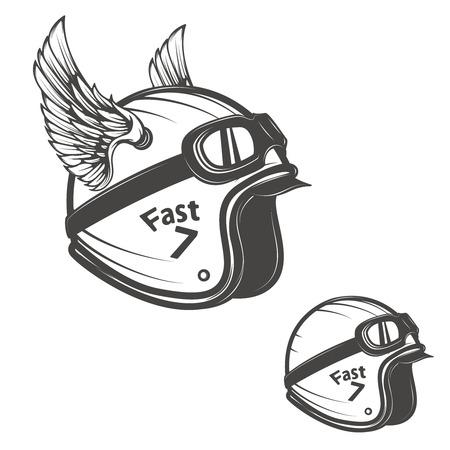Baker helmet with wings. Design element for logo, label, emblem, sign, poster, t-shirt. Vector illustration.