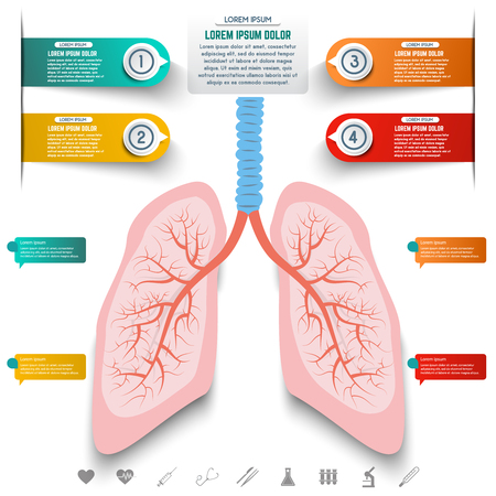 Abstract human lung from dots and lines. Set of colorful infographic elements and medicine icons. Design elements for websites, motion graphic, banners. Vector illustration.