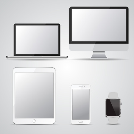 Set of blank screen devices. Monitor, laptop, tablet, smartphone, smart watches. Design elements for infographic, websites, motion design. Vector illustration. Ilustrace