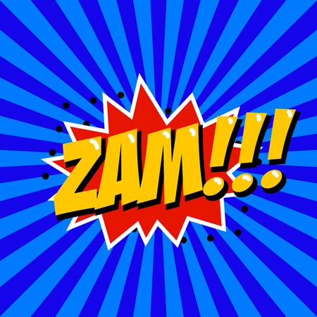 Zam! Comic style phrase on sunburst background. Design element for poster, t-shirt. Vector illustration. Illustration