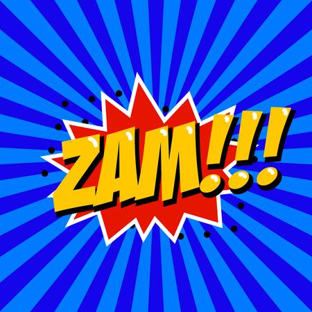 kapow: Zam! Comic style phrase on sunburst background. Design element for poster, t-shirt. Vector illustration. Illustration