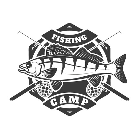 fishing camp emblem template on white  background. Pike perch fish with two crossed fishing rods. Vector illustration.