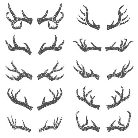 Set of hand drawn deer horns. Design elements , label, emblem, sign, brand mark. Vector illustration.