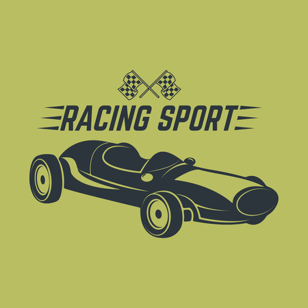 racer flag: Racing car illustration. Design element for emblem, sign, brand mark Illustration