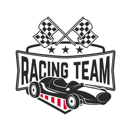 Racing car illustration. Design element for emblem, sign, brand mark Illustration