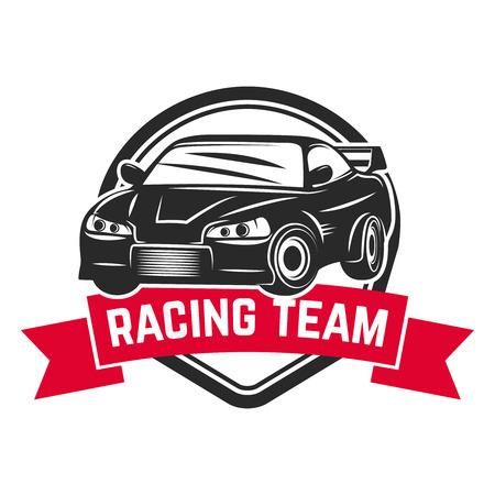 spoiler: Racing car illustration. Design element for emblem, sign, brand mark Illustration