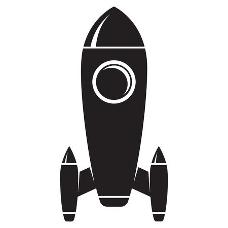 Retro rocket illustration on white background. Design element fo