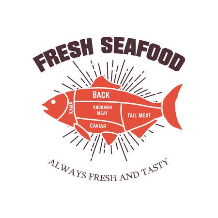 Fresh seafood. Design element for logo, label, emblem, sign. Vec Reklamní fotografie - 84511413