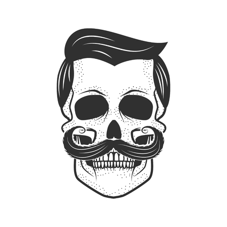 Human skull on white background. Design element for logo, label, Ilustracja