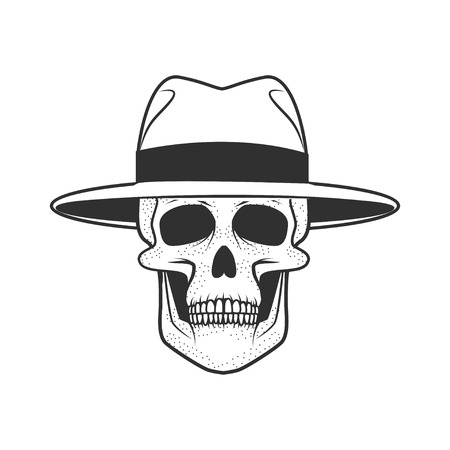 Human skull on white background. Design element for logo, label, Reklamní fotografie - 84511421