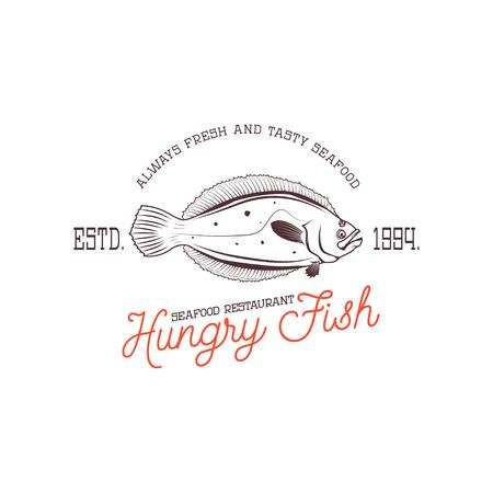 Fresh seafood. Design element for logo, label, emblem, sign. Vec