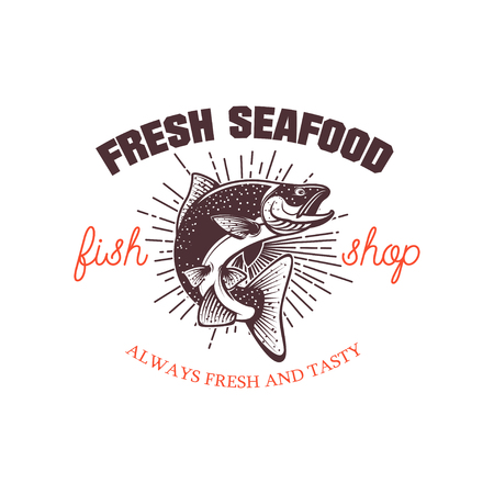 Fresh seafood. Design element for logo, label, emblem, sign. Vec Reklamní fotografie - 84511483
