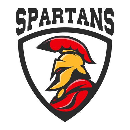 Spartan helmet. Military emblem. Design element for logo, label, Reklamní fotografie - 84511486
