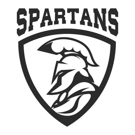 Spartan helmet. Military emblem. Design element for logo, label, Reklamní fotografie - 84511487