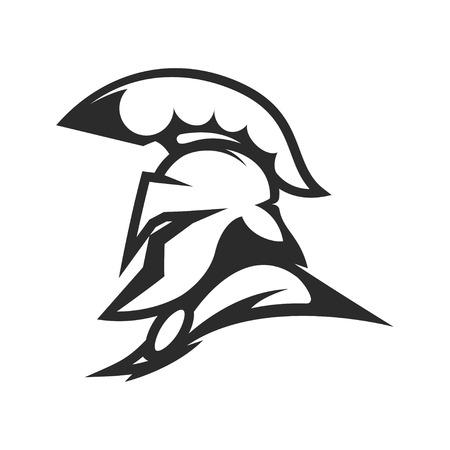 Spartan helmet. Military emblem. Design element for logo, label, Reklamní fotografie - 84511491