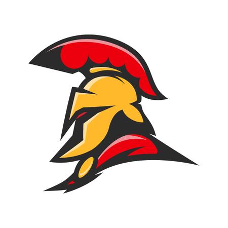 Spartan helmet. Military emblem. Design element for logo, label, Reklamní fotografie - 84511492