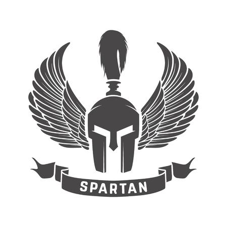 Spartan helmet. Military emblem. Design element for logo, label, Reklamní fotografie - 84511493