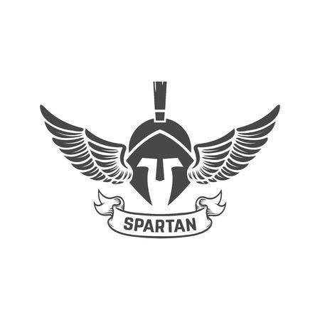Spartan helmet. Military emblem. Design element for logo, label, Reklamní fotografie - 84511494