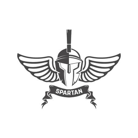 Spartanischer Helm. Militär-Emblem. Design-Element für Logo, Etikett, Standard-Bild - 84511495