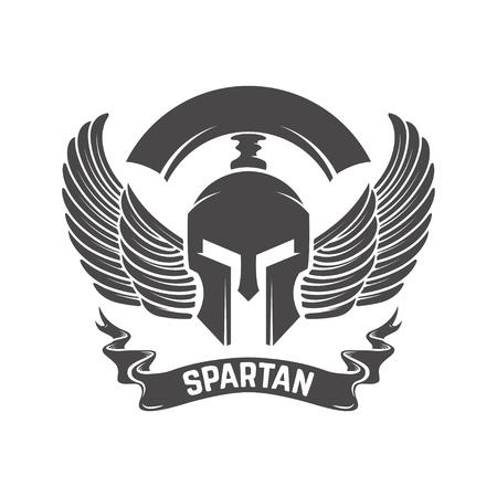 Spartan helmet. Military emblem. Design element for logo, label, Reklamní fotografie - 84511496