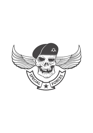 Paratrooper skull with wings. Military emblem. Design element fo