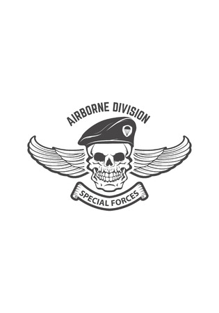 Paratrooper skull with wings. Military emblem. Design element fo Reklamní fotografie - 84511498